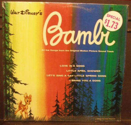 SEALED LP Walt Disney's Bambi Original Sound Track Disneyland Records DQ 1203 | eBay