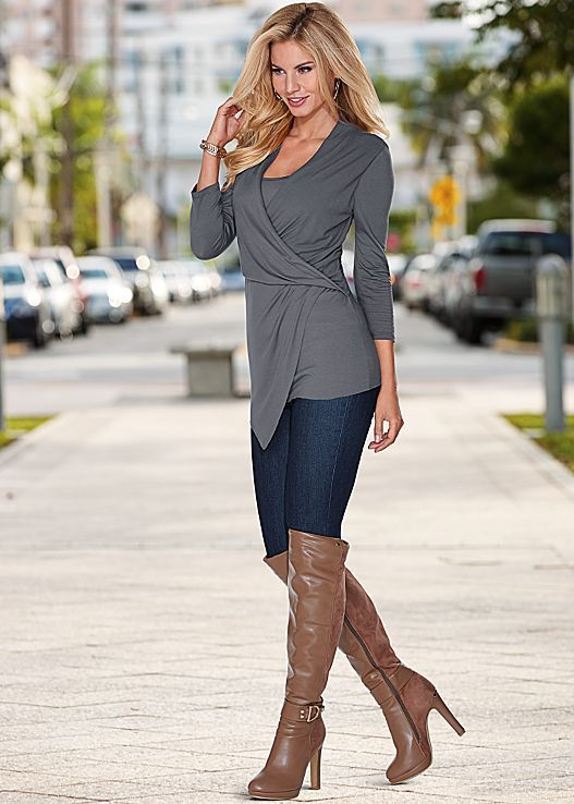 DRAPED SURPLICE TOP, SLIMMING STRETCH JEGGING, DETAIL OVER THE KNEE BOOT