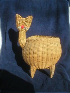 Atomic Mid Century Modern Cat Wicker Plant Waste Basket Floor Table Art Decor | eBay