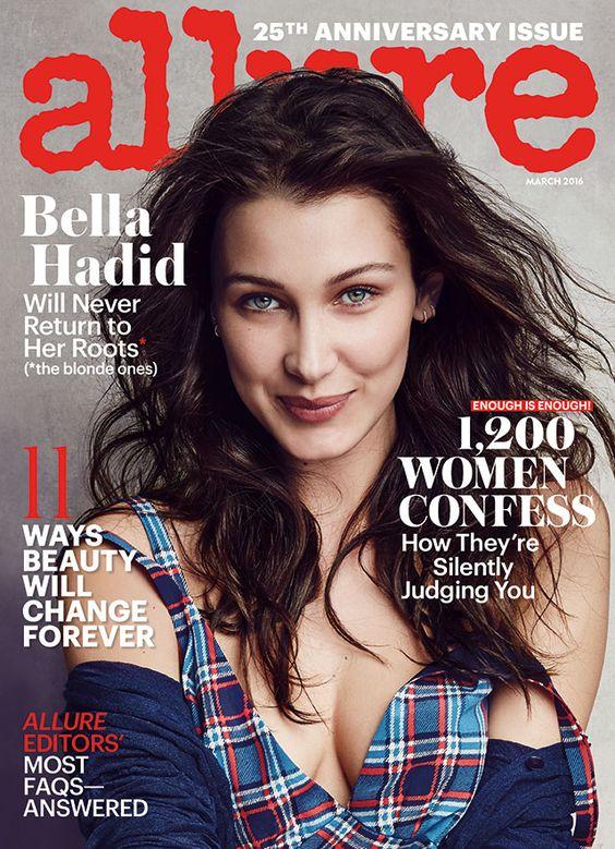 Bella Hadid en couverture du magazine Allure - March 2016 // #cover #bellahadid #alluremagazine #photography #portrait #sexy #woman #photoshoot #hot #model #mars