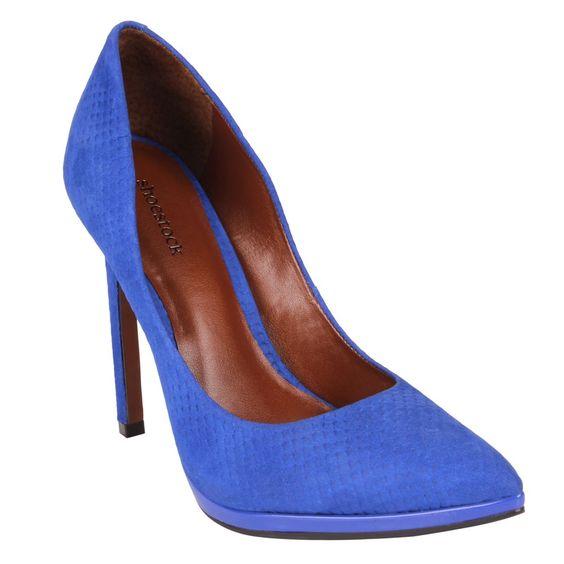 Scarpin Azul Royal de Couro - Shoestock