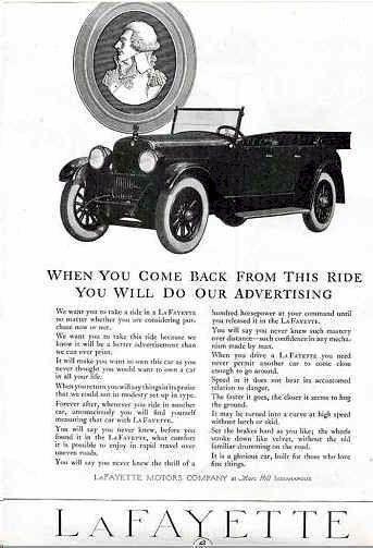 1921 LaFayette Automobile Automobile Advertisement