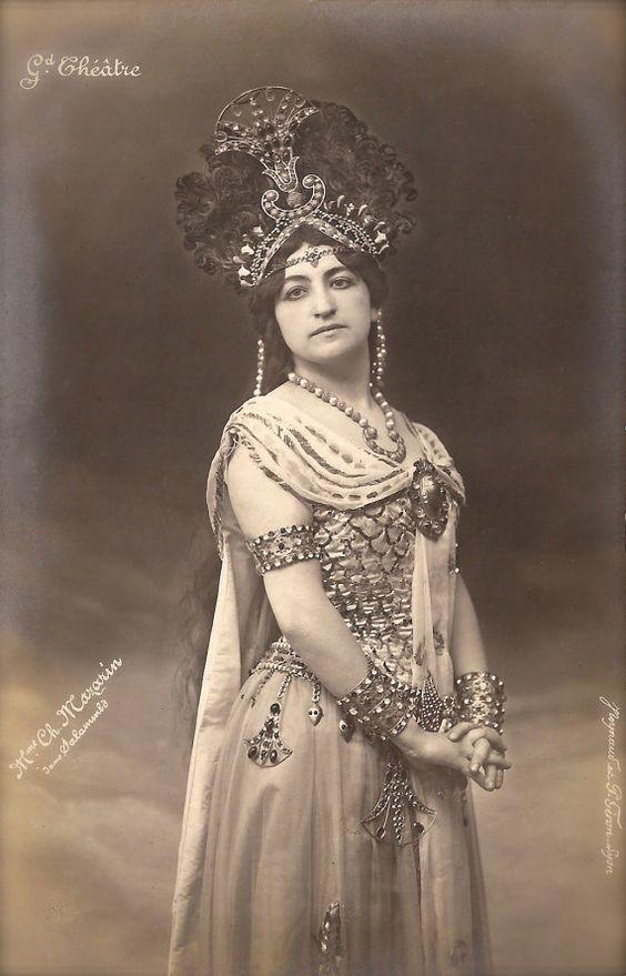 Mariette Mazarin, Belle Époque Belgian Opera Star in Exotic Costume & Headdress as Mysterious Salammbo, Original Rare 1900s French Postcard