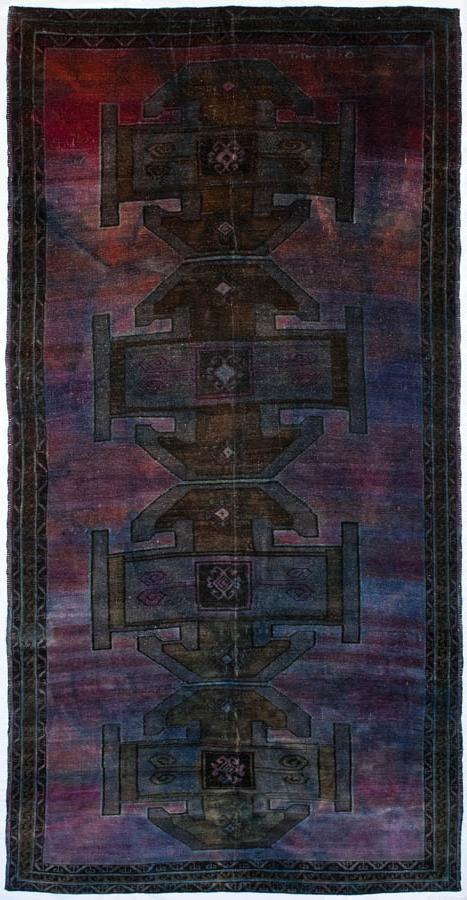 Vintage Turkish rug, over-dyed.