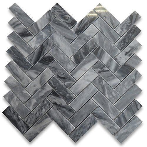 Gray Dark Grey Marble Herringbone Mosaic Tile Backsplash Kitchen Makeover Homeimpro Herringbone Mosaic Tile Mosaic Tiles Herringbone Marble Floor