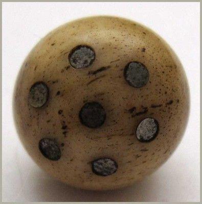 Unique Civil War Era Ball Shaped Bone Button w/Silver Inlay Dots