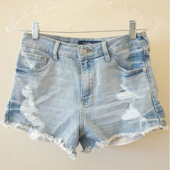 Light Wash, Distressed Denim Shorts // Worn Once | Shorts ...