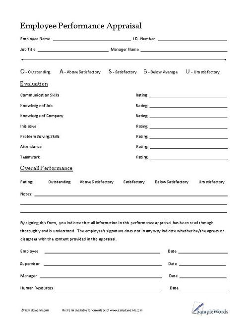 Employee Performance Appraisal Small business resources - employee evaluation form example