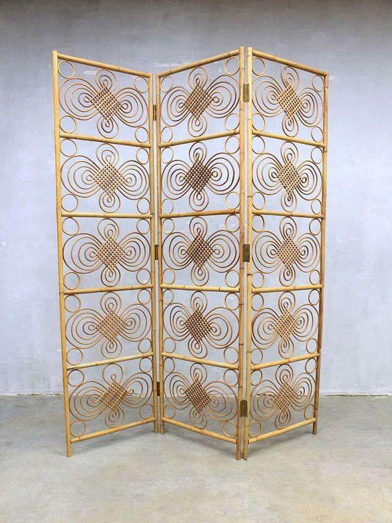 Vintage Rotan Kamerscherm Mid Century Bamboo Dividing Screen