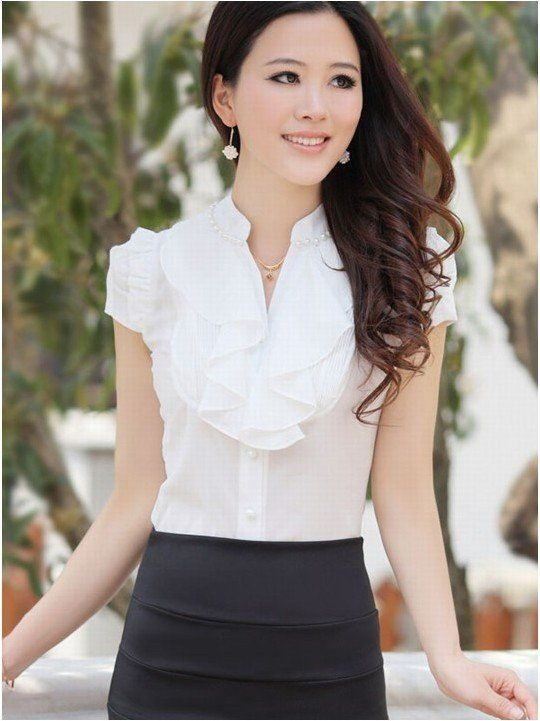 2012 Women Summer Fashion Slim Short Sleeve Chiffon Ruffles Collar ...
