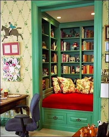 Turn a closet into a book nook! Man, if I had a closet to spare right now. ;)
