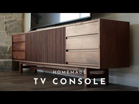Diy 3 8ft Mid Century Modern Tv Console Youtube Tv Console Modern Mid Century Modern Tv Console Tv Console Design