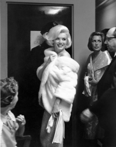 """Marilyn Monroe at President Kennedy's birthday gala. This was her last public appearance before her untimely death and as a joke on her legendary tardiness, she was introduced as """"the late Marilyn Monroe""""...the irony...."""