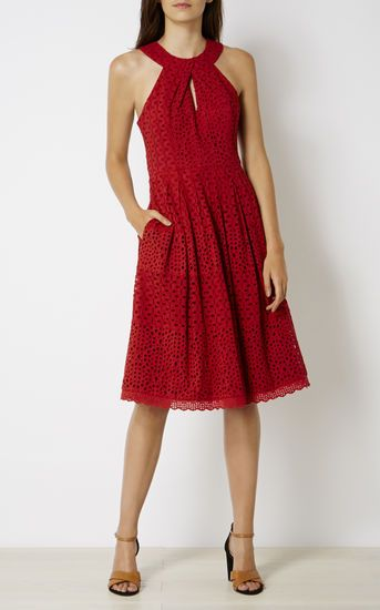 Karen Millen, KNOT-NECKLINE BRODERIE DRESS Burnt Orange