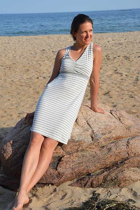 V-neck shirred top sun dress
