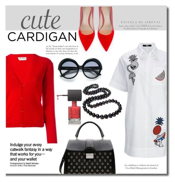 """""""Cute Cardigan"""" by mslewis6 ❤ liked on Polyvore featuring Pierre Cardin, Gianvito Rossi, Cutler and Gross and RED Valentino"""