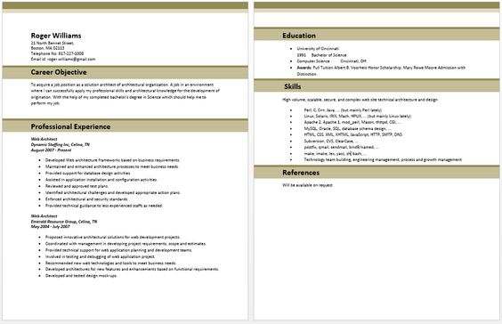 Web Architect Resume Architect Resume Samples Pinterest - web architect resume