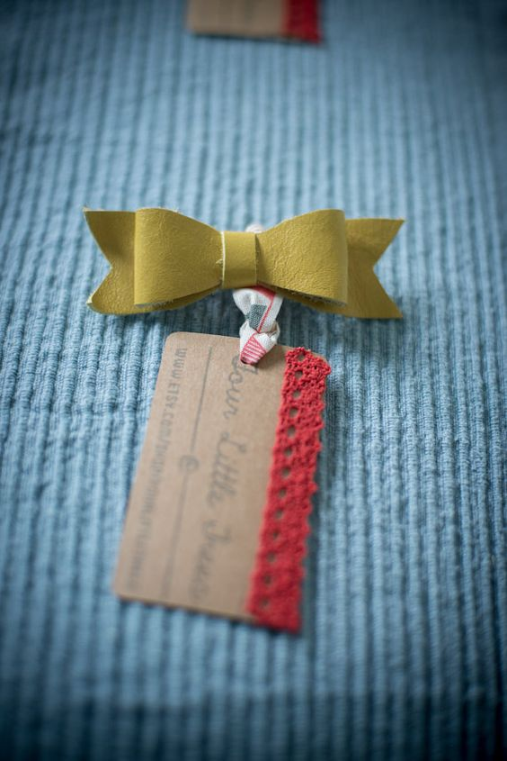 Yellow Leather Bow Hair Beret Clip by FourLittleTrees on Etsy, £5.00