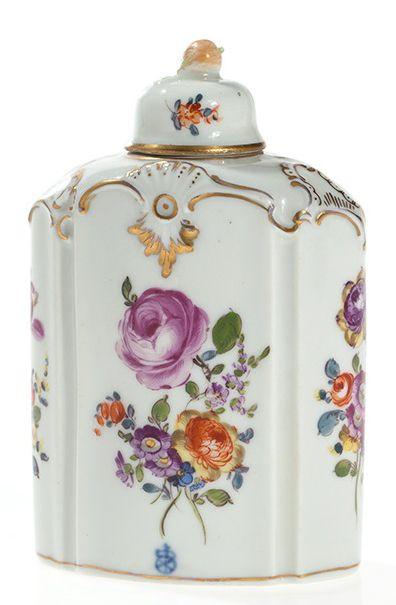 Blumenreich verzierte Teedose von Höchst, Deutschland, 18. JH