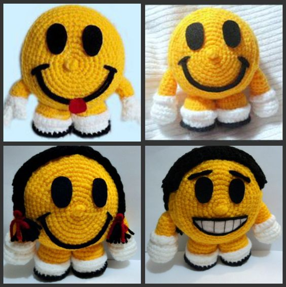 Crochet Amigurumi Smiley Faces : Smiley faces, Smiley happy and Tutorials on Pinterest