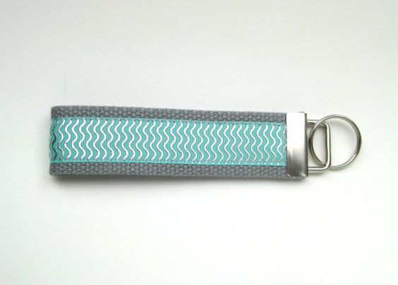 Mint and Silver Wristlet Key Fob- Womens Key Chain- Key Lanyard- Grad Gift for Her- Womens Gift Under 10