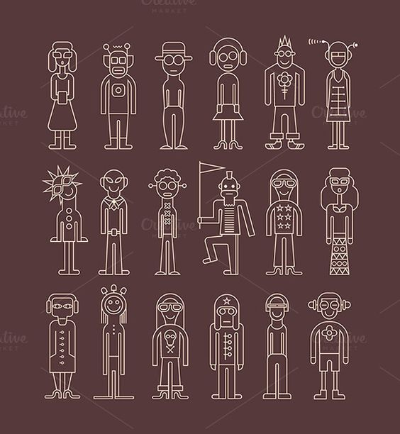 Outline people icon set by dan on Creative Market