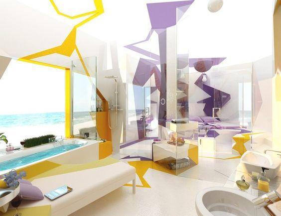 abstract bathroom wall mural idea