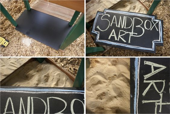 Chalkboard paint on the sandbox lid. (In The Next 30 Days)