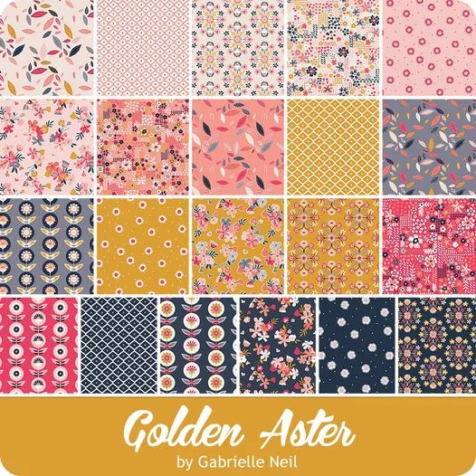 Main Pink Quilting Cotton Golden Aster Fabric Collection 12 Yard + Riley Blake Design