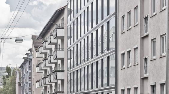 F7173 WOHNANLAGE STUTTGART Perspektive Fassadenausschnitt