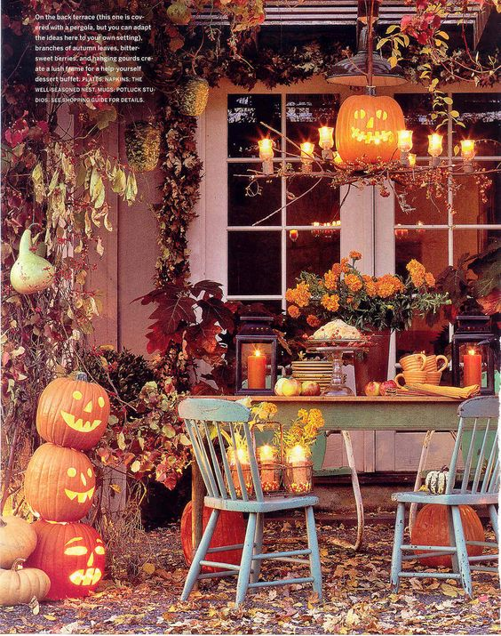Terrace decor autumn and halloween on pinterest for Terrace party decoration