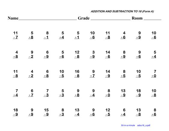 math worksheet : 100 subtraction facts to 20 worksheet  kindergarten 1st grade  : Math Addition And Subtraction Worksheets For 2nd Grade