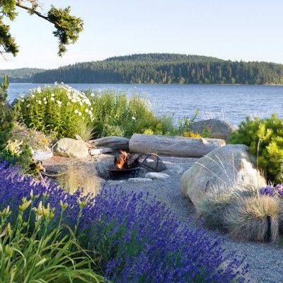 Crushed rock pathways echo the beach gravel, further blending the shoreline with the garden.