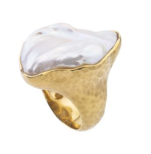 "14kt yellow gold ring featuring a large ""marquise"" shaped baroque Ikecho fresh water pearl. The pearl is bezel mounted in a high polished frame with a hand applied hammer finish. Jorge Adeler Collection."
