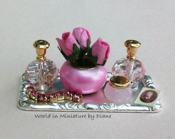Dollhouse Miniatures Perfume Pink Dressing Table Tray with Flowers Dolls house…