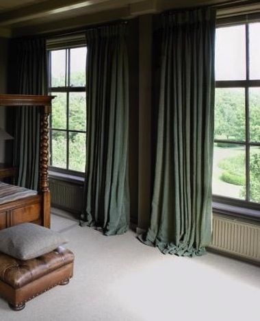 green linen curtains Green and dark brown wood makes a nice color combination!
