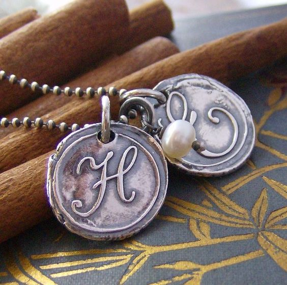 hand stamped personalized wax seal inital necklace