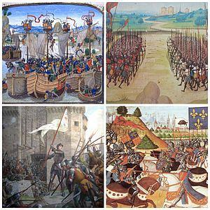 Picture- Clockwise, from top left: The Battle of La Rochelle, The Battle of Agincourt, The Battle of Patay, Joan of Arc at the Siege of Orleans. Hundred Years' War - For more information about the Hundred Years War and all of the important battles fought during including The Battle of Agincourt, Joan of Arc at The Siege of Orleans, etc. Click the Visit tab under the picture and read the Wikipedia page.
