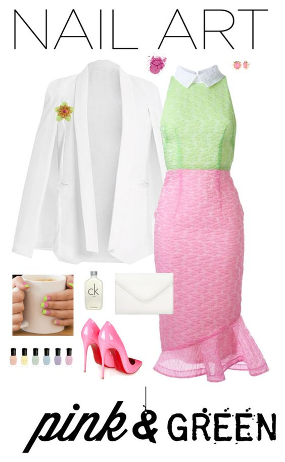 """pink & green manicure"" by jamiebradbury14 on Polyvore featuring Alex Perry, Christian Louboutin, Neiman Marcus, Kate Spade, Carolee, Calvin Klein and Deborah Lippmann"