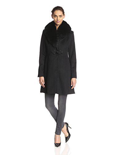 Ellen Tracy Women's Fox Shawl Collar Coat (Black)