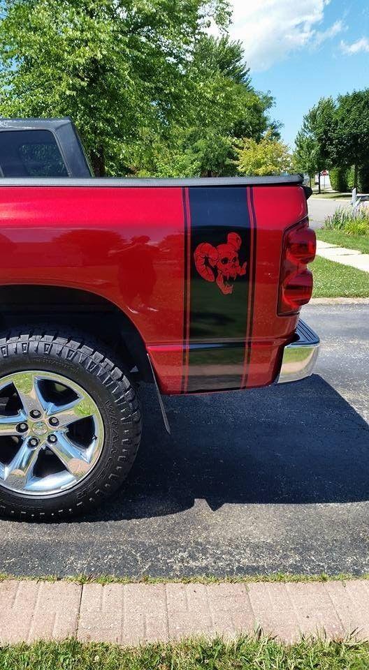 Truck Bed Stripe For Dodge Hemi Turbo Ram Sticker Decal Skull Decal Wrap Mirror Ultimateprocy Dodge Hemi Skull Decal Truck Bed