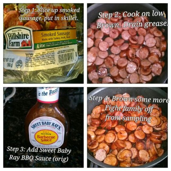 My children love this special (easy) meal.  Sweet Baby Ray Sausage.  I use 2 packages of meat to serve 4 of us.  Served with green beans, & dinner rolls. Mmmmmm.