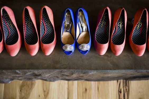Blue and coral shoes