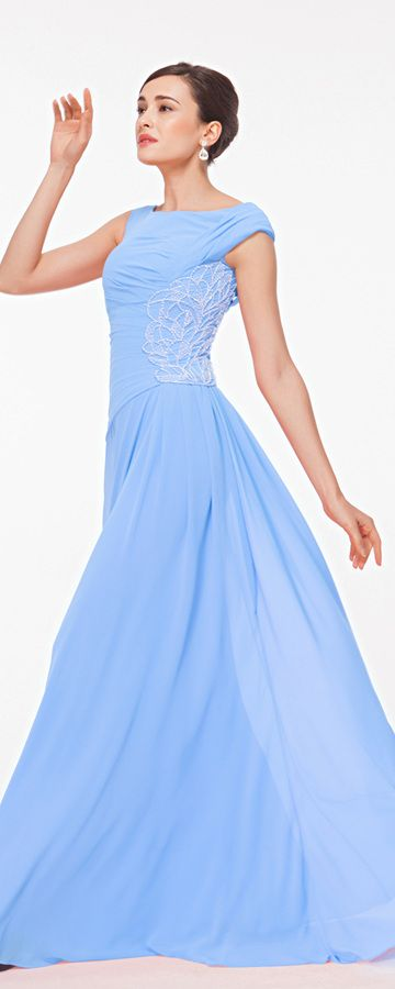 Light blue beaded prom dresses long modest formal dresses plus size homecoming dress