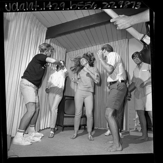 Group of teenagers dancing the Watusi in Los Angeles, Calif., 1965