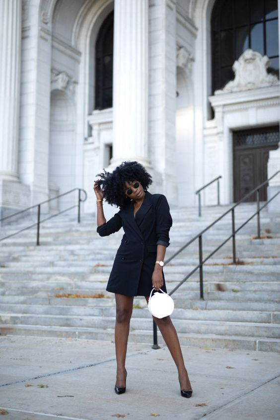 Black blazer dress with black heels and white bag | Yours Truly Yinka