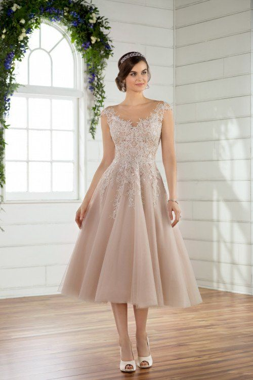 Tea Length Wedding Dress Idea Blush Wedding Dress With Lace Details Styl Essense Of Australia Wedding Dresses Short Lace Wedding Dress Civil Wedding Dresses