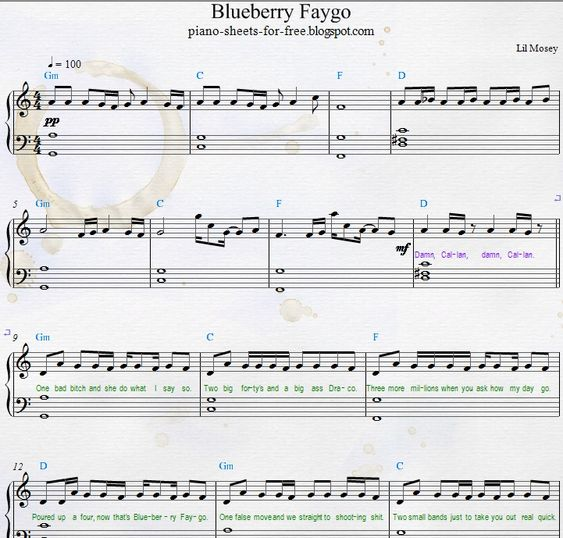 Lil Mosey Blueberry Faygo piano sheets
