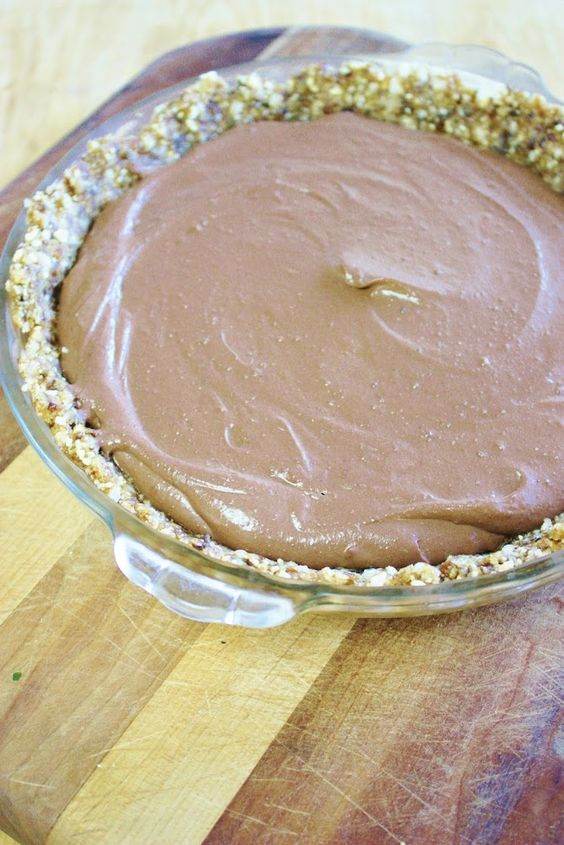 Chocolate Peanut Butter Cream Pie *Walnuts *Cashews *Coconut chunks *Dates/prunes *Chocolate bars *Maple syrup, agave, honey or date paste *Tofu *Nondairy milk *Peanut butter *Cinnamon *Top with goji berries & cacao nibs