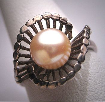Antique Akoya Pearl Wedding Ring Victorian Art Deco 30s